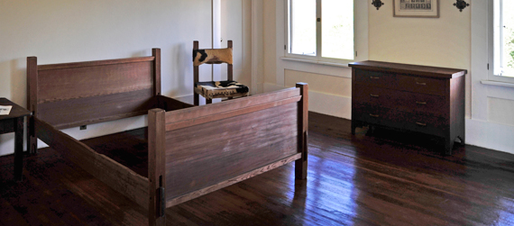Irving Gill furniture exhibit at the Marston House
