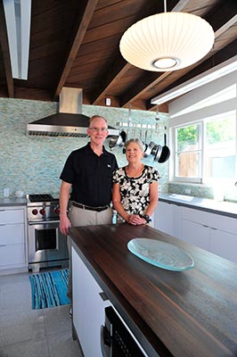 Richard and Anne Kruse in their new kitchen