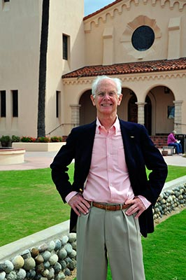 John Norris in front of St. James by the Sea Church in La Jolla