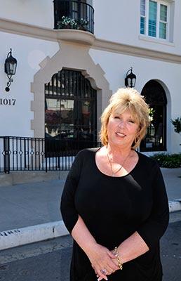 Ann Keyser in front of the Hotel Marisol Coronado