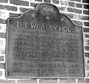 Whaley House plaque