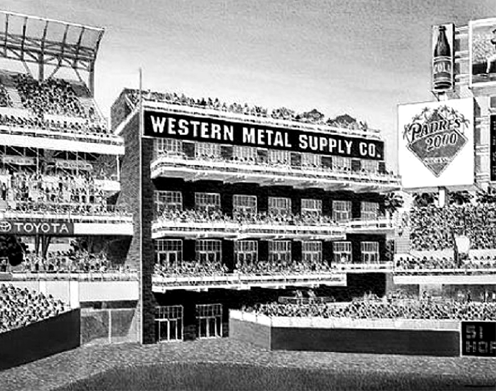 Western Metal Supply Company building pictured as part of the new ballpark outfield
