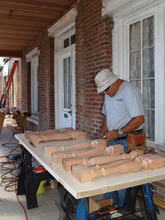 Whaley House during porch restoration